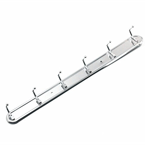 Stainless Steel Wall Mounted Kitchen Apron Pot Pan Rack Bathroom Towel Rail Outdoor or Indoor 6 hooks