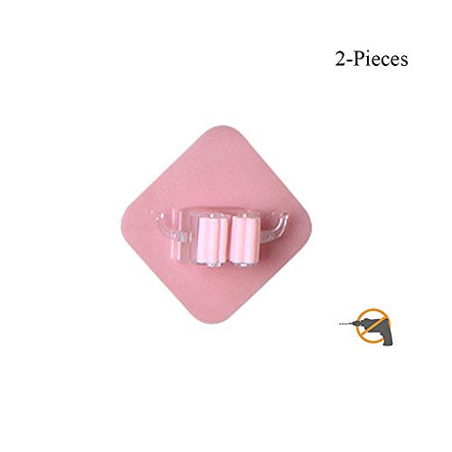 Multi-purpose Mop Broom Holder Self Adhesive Reusable No Drilling Wall Hooks 2PCS (Pink)