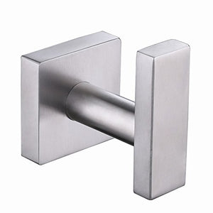 Bath Towel Hook, Aomasi SUS304 Stainless Steel Square Coat Towel Hook, Utility Clothes Hanger for Bathroom Kitchen, Wall Mounted, Brushed Nickel