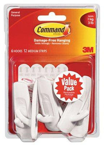 3M 17001-VP-6PK 6-Pk. Medium Hook - Quantity 12
