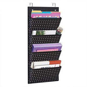 Eamay Wall Mount/ Over Door File Hanging Storage Organizer - 4 Large Office Supplies File Document Organizer Holder for Office Supplies, School, Classroom, Office or Home Use, White Dots Pattern