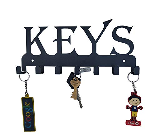 HeavenlyKraft Keys Black Metal Wall Mounted Key Holder 25 X 12 X 2.5 cm