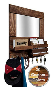 Bristol Mail Holder Wall/Key Holder Wall Shelf/Decorative Mirror - Restyled Farmhouse Entryway Mirror Wall Organizer & Shelf/Wooden Mail Organizer - Special Walnut