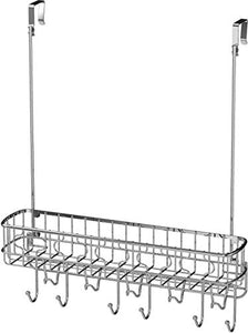 Simple Houseware Over The Door 11 Hook Organizer Rack with Basket Storage, Chrome