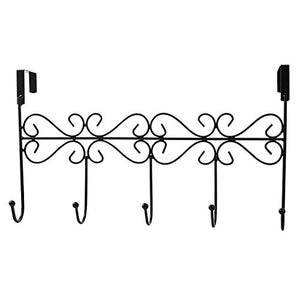 JUFENG Over the Door 5 Hook Rack - Decorative Organizer Hooks for Clothes, Coat, Hat, Belt, Towels - Stylish Over Door Hanger for Home or Office Use (black)