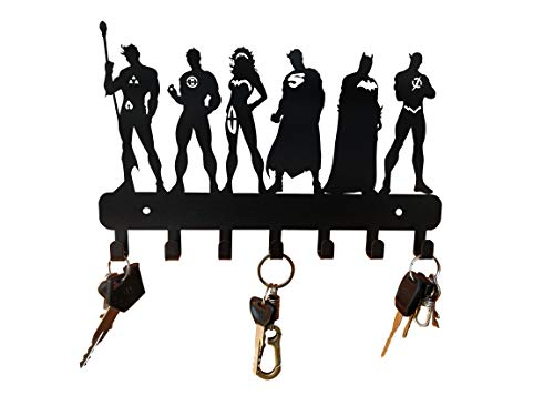 HeavenlyKraft Super Heros Wall Mounted Metal Key Holder Size 27 X 17 X 2CM Decorative Key cabinet/ Childrens room decor