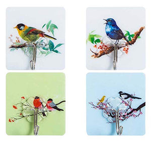 Black Temptation [Bird] 20 Pcs Practical Wall Hook Door Hooks Towel Hook Self Adhesive Hooks