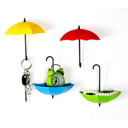 6Pcs/Set Cute Umbrella Wall Mount Key Holder Creative and Colorful Wall Hook Hanger Organizer Durable Sticky Hook