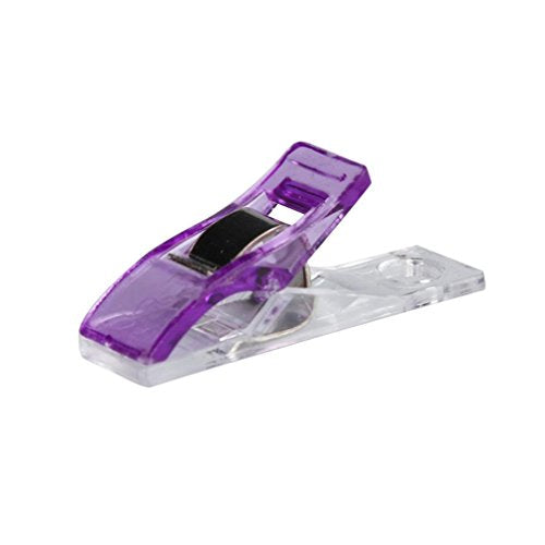 Iuhan 50 PCS Clear Sewing Craft Quilt Binding Plastic Clips Clamps Pack (Purple)