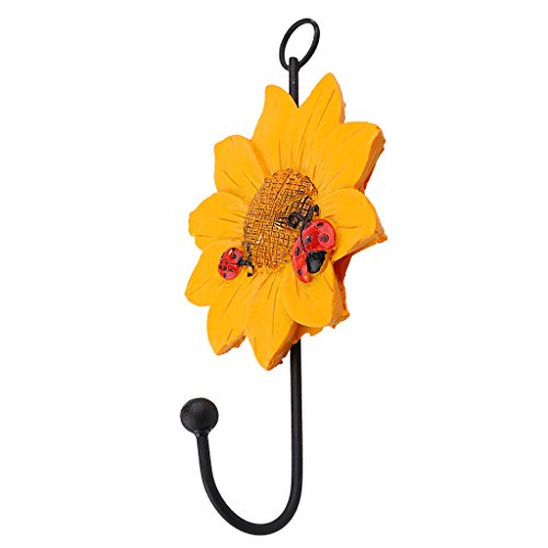 MonkeyJack EU Fashion Daisy Flower Wall Hook Hanger Clothes/Coat/Towel Storage Holder for Kitchen/Bath - Yellow, 14x8cm