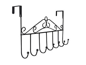 Dingang Over the Door Hanger Rack - Decorative Metal Hanger Holder for Home Office Use 7 Hooks Black