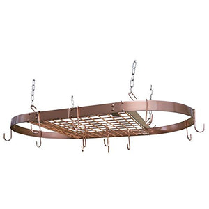 Range Kleen CW6015 Copper Motif Hanging Oval Pot Rack 1.5 Inch H by 33 Inch W by 17 Inch D