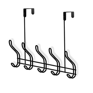 Over The Door Hook Organizer Rack - 18/8 Stainless Steel Multi-Purpose Organization System/Heavy Duty Over The Door 10 Hook Use for Kitchen, Bathroom, Bedroom, Office (Black)