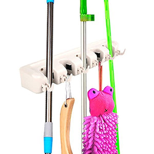 Mop Holder Hanger 5 Position Home Kitchen Storage Broom Organizer Wall Mounted