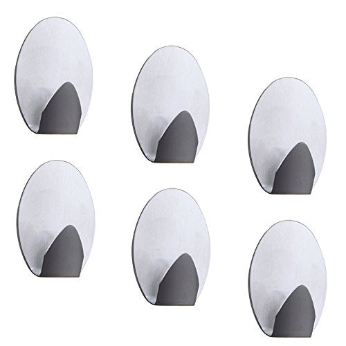 Adhesive Wall Hooks, Waterproof Stainless Steel Storage Organizer for Umbrellas, Scarves, Belts, Towels, Bags, Coats, Calendars Kitchen Bathroom -6 Packs