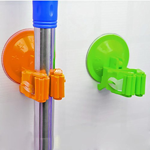 Multifunctional Strong Sucker Mop Broom Holder Rack Swob Hook With Suction Cup (Color : Green)