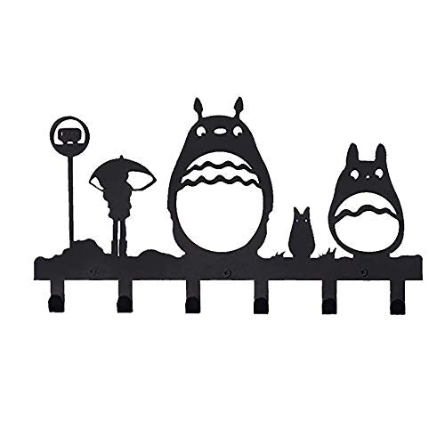 Homentum Decorative Coat Hooks Wall Mounted,Childrens Hangers, Metal Towel Racks for Bathroom,Bedroom, Dog Leash and Key Holder, Entryway Clothes and Hat Organizer,Cartoon Sweet Black,6 Hooks(Totoro)