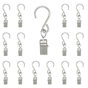 Renashed 50 Pack Curtain Clip String Hanger Outdoor Indoor Photo Hook Stainless Steel Hook Silver (Silver)