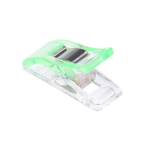 Iuhan 20 PCS Clear Sewing Craft Quilt Binding Plastic Clips Clamps Pack (Green)