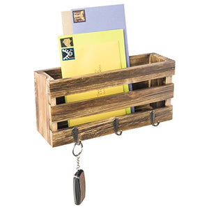 MyGift Rustic Crate-Style Wall Mounted Brown Wood Mail Sorter with 3 Key Ring Hooks