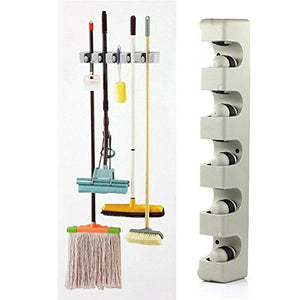 INLAR Mop and Broom Holder,Garage Organiser Rack with 5 Ball Slot and 2 Retractable Hook Wall Mounted Organizer Garden Tool Organiser for Garage Kitchen Bathroom