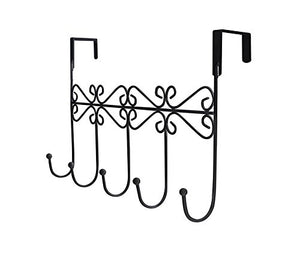 Dingang Over the Door Hanger Rack - Decorative Hanger Holder for Home Office Use 5 Hooks Black