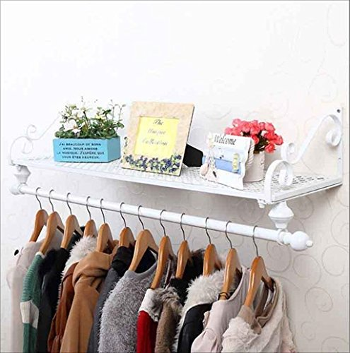 LIAN Wall-mounted Clothing Rack Wall Clothing Shelf Clothing Shop Display Rack American Black Iron Art American Style Village (Color : White)