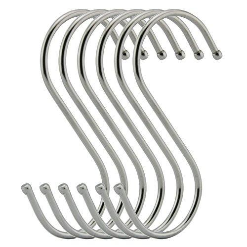 Agilenano Extra large S Shape hooks, Heavy-duty Stainless Steel Hanging Hooks - Multiple uses, Ideal for Apparel, Kitchenware, Utensils, Plants, Towels, Gardening Tools.