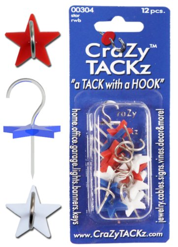 CraZy TACKz Star-12pc Push pin Hook, Red, White, Blue