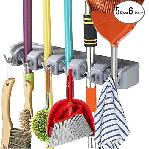 WeLax Mop Broom Holder Wall Mounted Kitchen Hanging Garage Utility Tool Organizers and Storage Rack for Commercial Bathroom Laundry Room Closet Gardening (Grey)