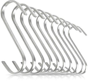 Flat Hanging Hooks - Pot Racks S Hook 10 Pack Set