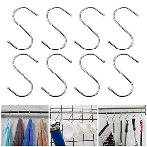 VIPITH S Hooks, 30 Pack 3.6 Inch Stainless Steel Metal S Shaped Hooks Heavy-Duty S Hanging Hooks Hangers with Ball Ends for Spoon Pan Pot Towel in Kitchen Bedroom Bathroom Office