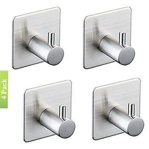3M Self Adhesive Hooks, Heavy Duty Stainless Steel Key Robe Towel Hooks, Wall Mount Coat Hook Hat Hook, Waterproof, Rustproof for Kitchen Bathroom Toilet Lavatory Closets Organizer(Pack of 4) (B)