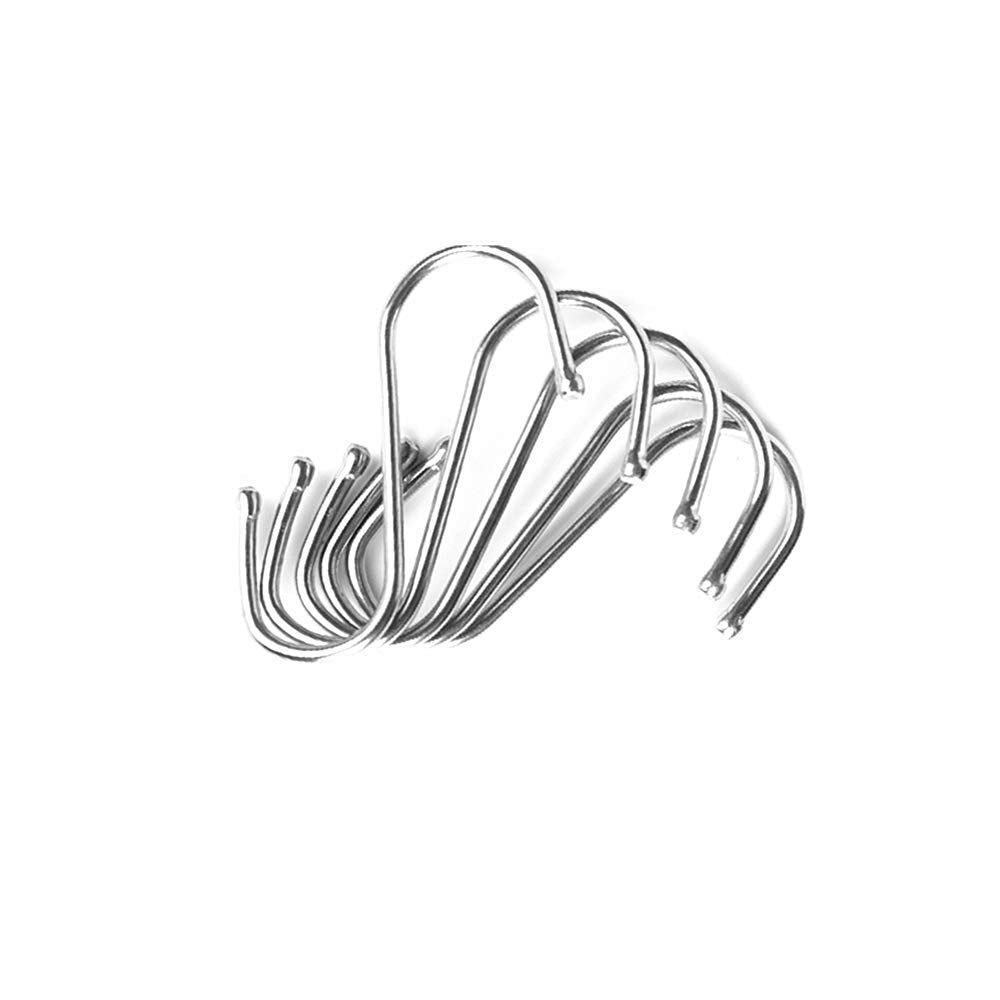 leoyoubei 50 Pack Heavy Duty S Hooks with Ball End 2.6 inch Stainless Steel S Shaped Antirust Hanging Hangers for Kitchenware Spoons Pans Pots Utensils Clothes Bags Towers Tool saccessories Plants Pot