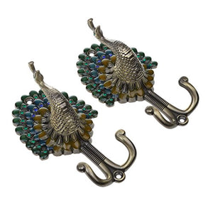 Jili Online Multi-color Vintage 1 Pair Peacock Double Metal Wall Mounted Hanger DIY Hook for Clothes Towel Bag Coat - Bronze