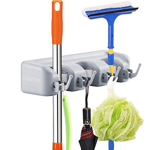 Mop and Broom Holder Kingtop Garage Storage Rack Hooks Wall Mounted Organizer for Home Garden Tool Shelving (3 position 4 hooks)