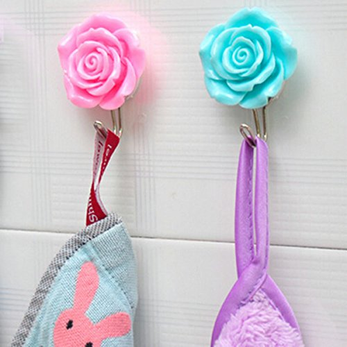 2Pcs Creative Home Rose Flower Sticky Hook After Door Wall Clothes Hat Hanger Hooks-Random Color