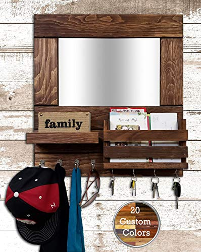 Bristol Mail Holder Wall/Key Holder Wall Shelf/Decorative Mirror/Rustic Wooden Mail Organizer - Restyled Farmhouse Entryway Mirror Wall Organizer & Shelf - Special Walnut