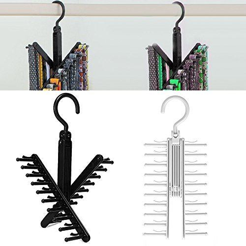 BCHZ Adjustable 360° Rotating 20 Hook Tie Towel Belt Scarf Compact Hanger Rack Holder
