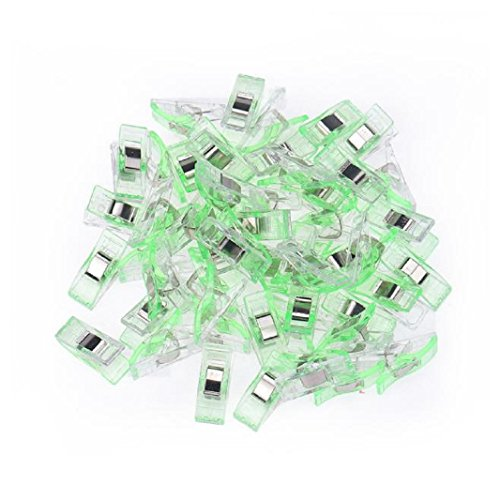 Iuhan 50 PCS Clear Sewing Craft Quilt Binding Plastic Clips Clamps Pack (Green)