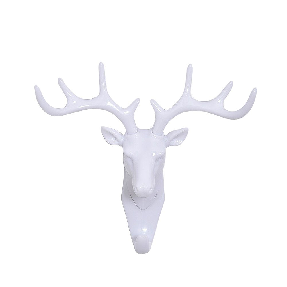 Peyan Deer Head Single Wall Hook / Hanger Animal Shaped Coat Hat Hook Heavy Duty Rustic, Decorative Gift White