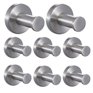 FUNJIA Coat Hook 12 Pieces Stainless Steel Wall-Mount Bath Robe Towel Wall Hooks Hanger, Brushed Nickel (2-Inch)