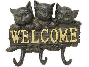 Cast Iron 3 Kitty Cats w/3 Cat Tail Hooks Welcome Sign for Cat Lovers & Pet Lovers Shabby Chic Vintage Wall Mounted Hooks, Excellent for Coats, Bags, Hats, Towels, Scarf's and More by Ashes to Beauty