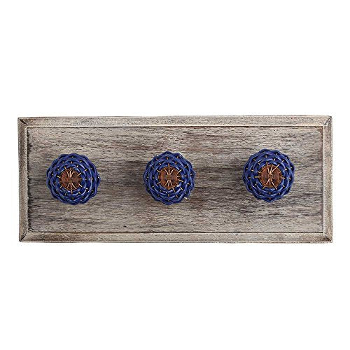 Indianshelf Handmade 1 Artistic Vintage Blue Wooden Clothes Hooks Holders/Towel Hooks for Bathrooms