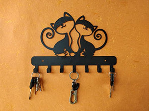 HeavenlyKraft Twin Kittens Wall Mounted Metal Key Holder, Key Organizer, Metal Key hook, 10.6 X 7.5 X 0.8 INCH