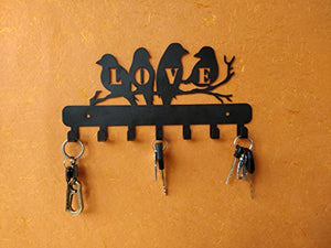 HeavenlyKraft Love Birds Wall Mounted Metal Key Holder Size 10.6X 5.51 X 0.8 Inch Key hanger, Medal Hanger, Leash Hanger, Key Organizer, Metal Key hook,Black