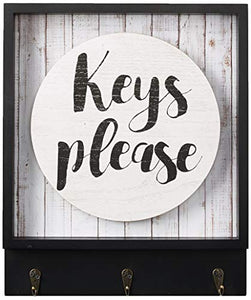 Boston Warehouse Wall Plaque with Hanging Hooks Keys Please