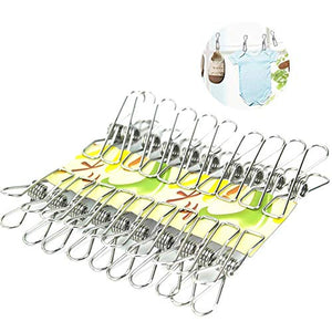 PAWACA 20 Pack Stainless Steel Cloth Pin, Clothesline Hook for Socks Towel Bag Scarfs Hang Drying Rack Tool,Laundry Kitchen Cord Wire Line Clothespins Pegs, File Paper Bookmark S Binder Metal Clip