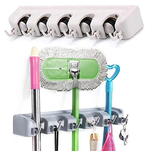 Wall Mount Magic Mop and Broom Holder Plastic Hanger Brush Cleaning Tool Rack US