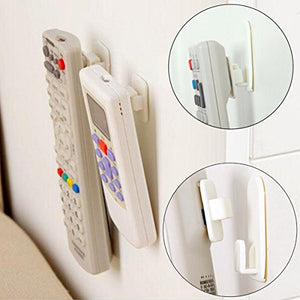 2Set(4Pcs) Sticky Hook Set Tv Air Conditioner Remote Control Key Practical Wall Storage Plastic Hooks Holder Strong Hanger^